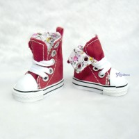 Yo-SD Albu Dog Taeyang Shoes Denim Folded Boots Red SHU059RED