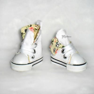 SHU059WHE Yo-SD Albu Dog TY doll bjd Shoes Denim Folded Boots White