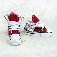 SMB001RED Super Dollfie SD13 Boy Shoes Denim Folded Sneaker Red