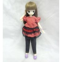 TBS052RED Obitsu 21cm 23cm bjd Outfit Lace Dress + Jeans Pants