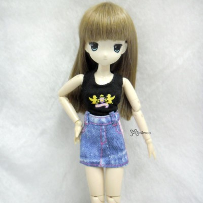 TBS054BLE Obitsu 21-23cm Azone Pureneemo Doll Outfit Jeans Skirt