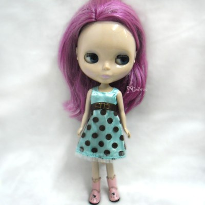 TBS086 Blythe Pureneemo Momoko Outfit One-Piece Dots Lace Dress