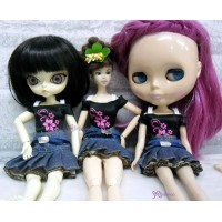 Blythe Momoko Hujoo Outfit Belt Jeans Skirt + Tee TBS101
