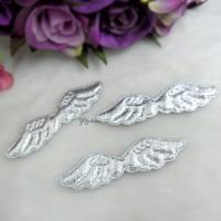 TPS067SLR DIY Crafts 58mm Mini Fabric Angel Wings Silver (3pcs)