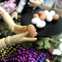 TPS031EGB 1/6 Bjd Doll Miniature Mini Resin Food Brown Egg 5pcs