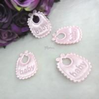 TPS071PNK DIY Crafts 32mm Satin Fabric Baby Bib Pink (4pcs)