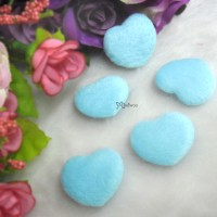 TPS072BLE DIY Material 27mm Mini Fabric Heart BLUE (5pcs)