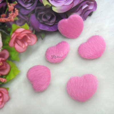TPS072CHY DIY Material 27mm Mini Fabric Heart Cherry (5pcs)