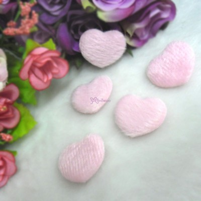 TPS072PNK DIY Material 27mm Mini Fabric Heart PINK (5pcs)