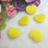TPS072YEW DIY Material 27mm Mini Fabric Heart Yellow (5pcs)