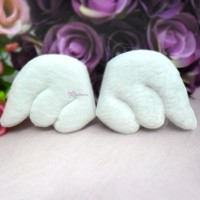 TPS074WHE 55mm Plushy Fabric Angel Wings White (1 pair)