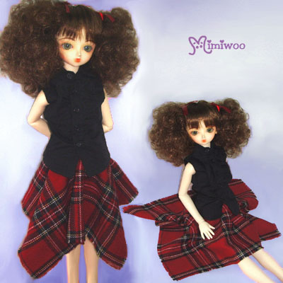 TSD161RED Super Dollfie SD Luts Girl Doll Dress Red Tartan Skirt