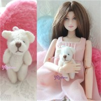 WAB001WHE 1/6 bjd 4cm Mini Plush Teddy Bear White