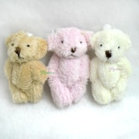 WAB004SET 4cm Mini Plush Velboa Soft Teddy Bear (3psc Set)