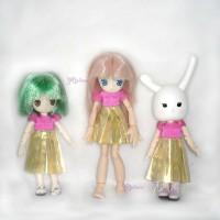 WHB007 Obitsu 11cm Doll Picco Neemo Figure One-piece Dress Gold