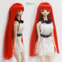 """WM27-02-RD 3.5-4"""" Long Straight Bang Heat Resistant Wig Red"""