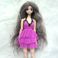 "WM27-LB1-MPG 3.5-4"" Wave Curl Heat Resistant Wig Mix Pink Grey"