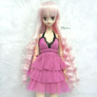 "WM27-SL-MSP 3.5""-4"" Wavy Braids Heat Resistant Wig Silver Pink"