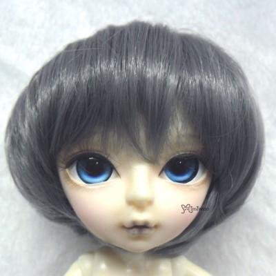 7-8 inch Heat Resistant BJD Doll Wig Short Dark Grey
