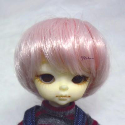 "Hujoo Baby Bjd Heat Resistant 4-5"" Shaggy Wig Pink WM21-07-PK"
