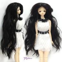 """Heat Resistant 3.5"""" - 4"""" Doll Center Part Wave Long Wig Black WM27-LB1-BK"""