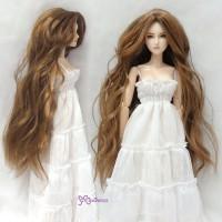 """Heat Resistant 3.5"""" - 4"""" Doll Center Part Wave Long Wig Brown WM27-LB1-SB"""