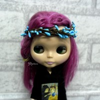 YC0053BLE Blythe Hujoo SD Bjd Mini Headdress Flower Ring Blue