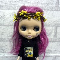 YC0053YEW Blythe Yomi SD Bjd Mini Headdress Flower Ring Yellow