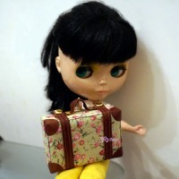 YC0059FLR 1/6 Bjd Doll Miniature Mini Suitcase Brown Flower