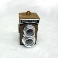 YC0076BRN Miniature Mini Twin Camera w Sound & Light Brown