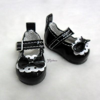 S Size MCC Doll Bow Shoes BLACK YK06BLK