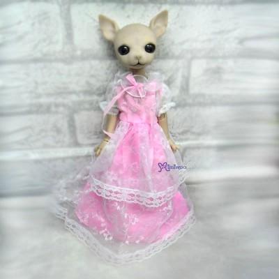 Hujoo Albu Dog Rose Yo-SD Outfit Pink Lace Dress YLM007PNK