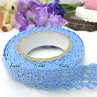 YTA003BLE Adhesive Sticker Double Trim Lace Fabric Tape Blue