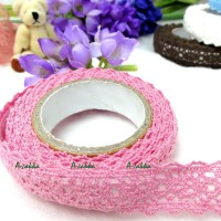 YTA003PNK Adhesive Sticker Double Trim Lace Fabric Tape Pink