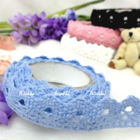 YTA004BLE Adhesive Sticker Single Trim Lace Fabric Tape Blue