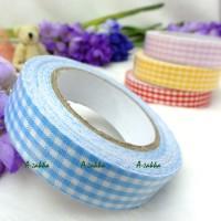 YTA005BLE Roll Adhesive Sticker Fabric Tape Blue Checker