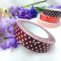 YTA006RED DIY Roll Adhesive Sticker Fabric Tape Dots Red