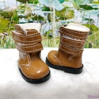 Yo-SD 1/6 bjd Dollfie Leeke Doll Shoes Double Strap Boots Brown SHU073BRN
