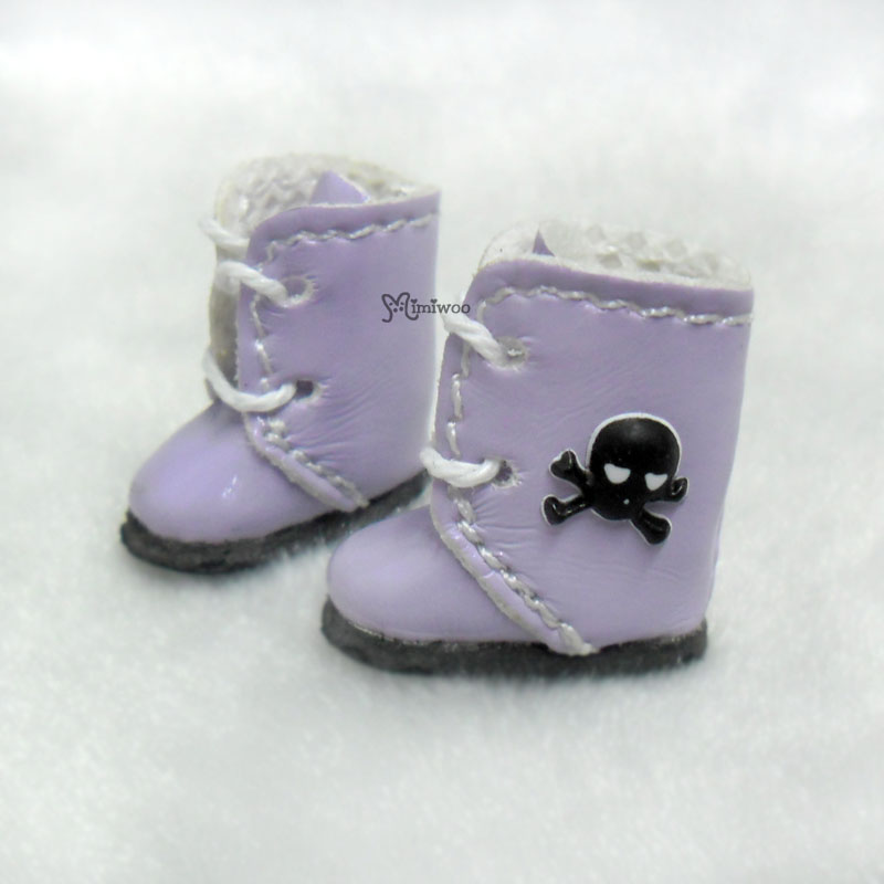 Middie Blythe Hujoo Baby Shoes 3D Skull Boots Purple SBB013PUE