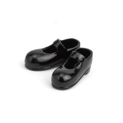 11SH-F001B-G Obitsu 11cm Body Doll Strapped Magnet Shoes Black
