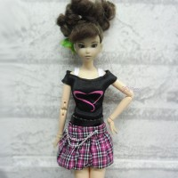 1/6 BJD Outfit Low Waist Skirt + Tee HEART 400100