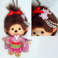 Monchhichi Big Head MCC Mascot Keychain Japan Dance Girl 780240