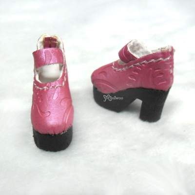 "12"" Blythe Momoko Pullip Shoes Embrossed Boots RED SHP134RED"