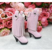 1/6 Doll Shoes PU Leather Tassel High Heel Boots PINK SHP191PNK