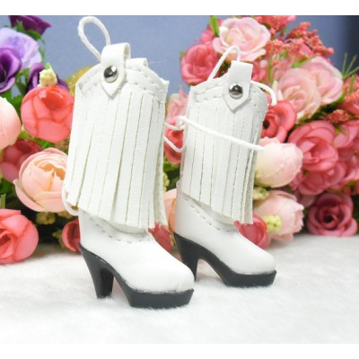 1/6 Bjd Doll Shoes PU Leather Tessel High Heel Boots White SHP191WHE