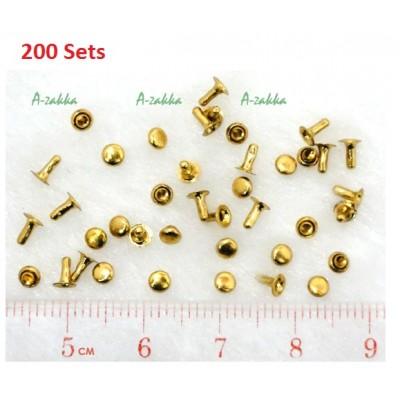DIY Material Crafts Mini Mushroom Rivet 3mm Gold (200pcs) NDA045SXGLD