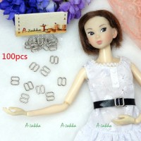 NDA050SXSLR Doll Dress DIY 8x8mm Metal Buckle Silver 100pcs