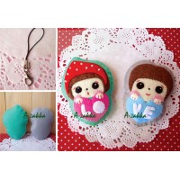 G063 DIY Sewing Kit Cell Phone Strap Pendant Boy & Girl Love