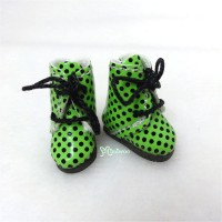 2cm Mini Doll Shoes Dots Boots Green SBB005GRN