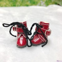 Middie B 2.2cm Doll Shoes Buckle Boots Red SBB006RED